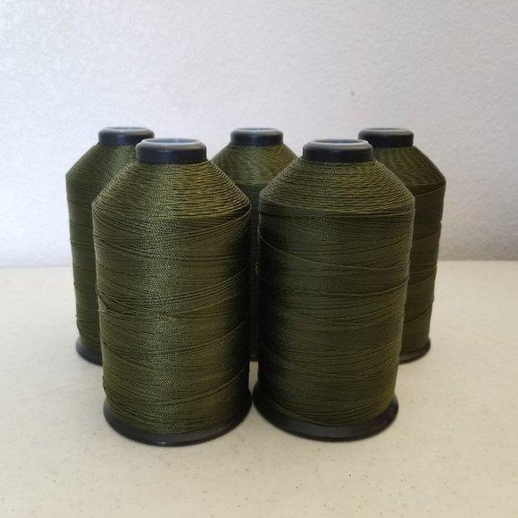 5 Lg Spools Olive Drab Soft Nylon Thread